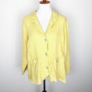 FLAX Yellow Linen Blazer jacket lightweight large